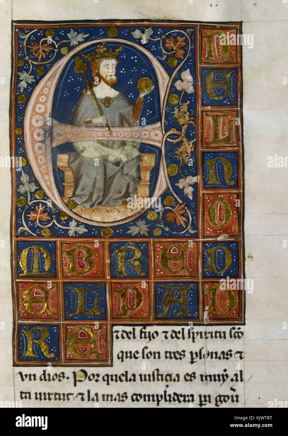 Iluminated initial of Alfonso XI of Castile (1311-1350), The Avenger. King of Castille, Leon and Galicia. Ordenamiento - Stock Image