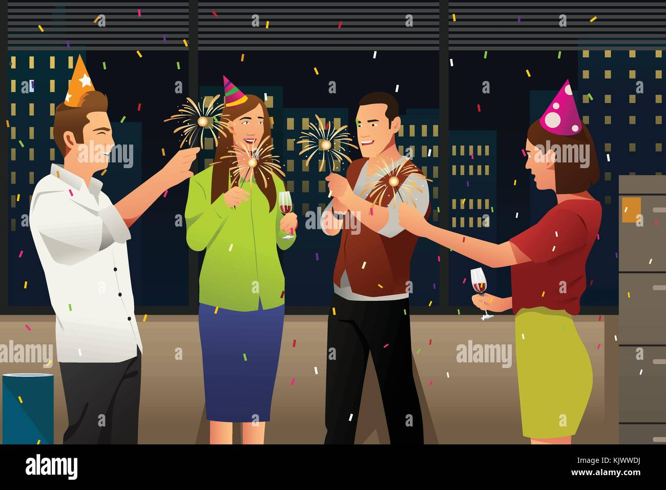 A vector illustration of Young People Having New Year Party - Stock Vector