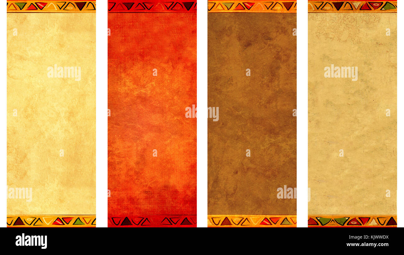 Set of grunge vertical or horizontal banners with old paper