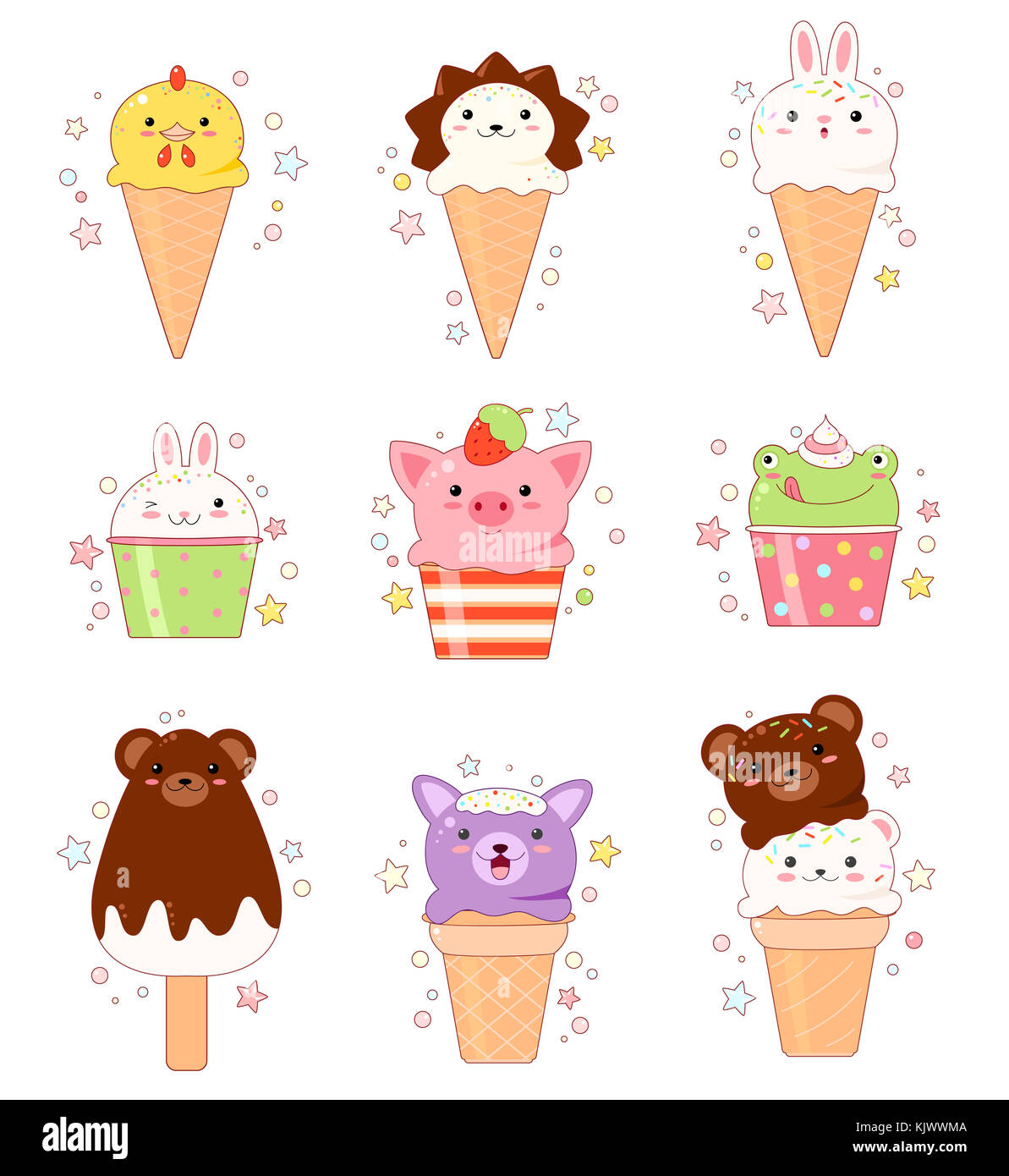 Vector set of animal shaped ice cream. Vanilla, chocolate, lemon, strawberry. In kawaii style with smiling face - Stock Image