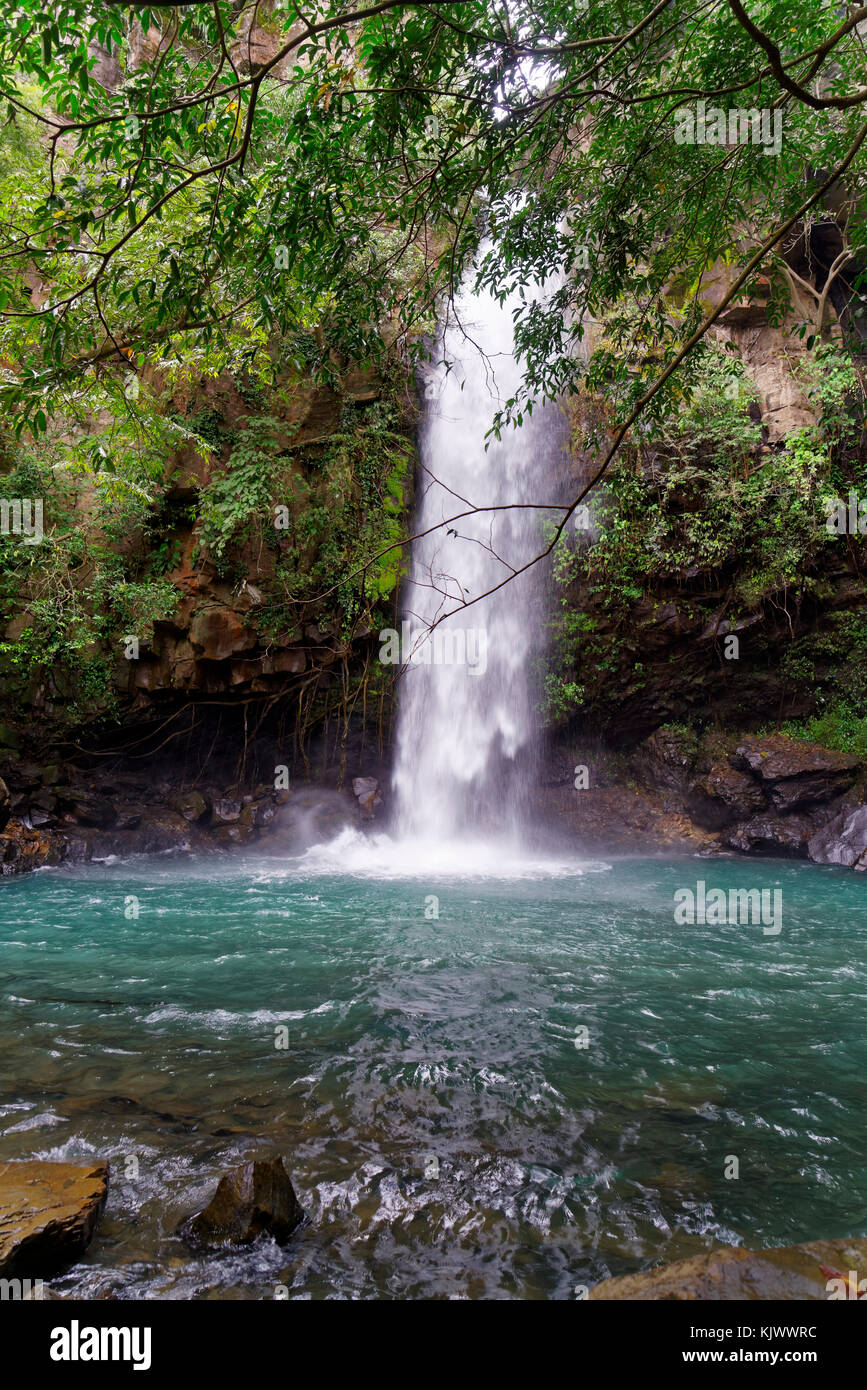 The waterfall La Cangreja is part of Rincon de La Vieja National Park, Costa Rica, which is an UNESCO world heritage - Stock Image