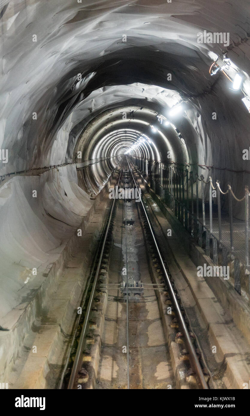 The Bulnes funicular railway tunnel between Poncebos and the mountain village of Bulnes in the Picos de Europa in - Stock Image