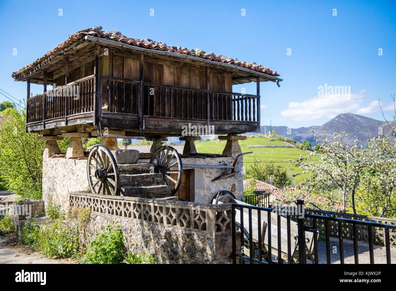Asturian raised granary or Oriel in the village of Bobia de Arriba in the Picos de Europa mountains of northern - Stock Image