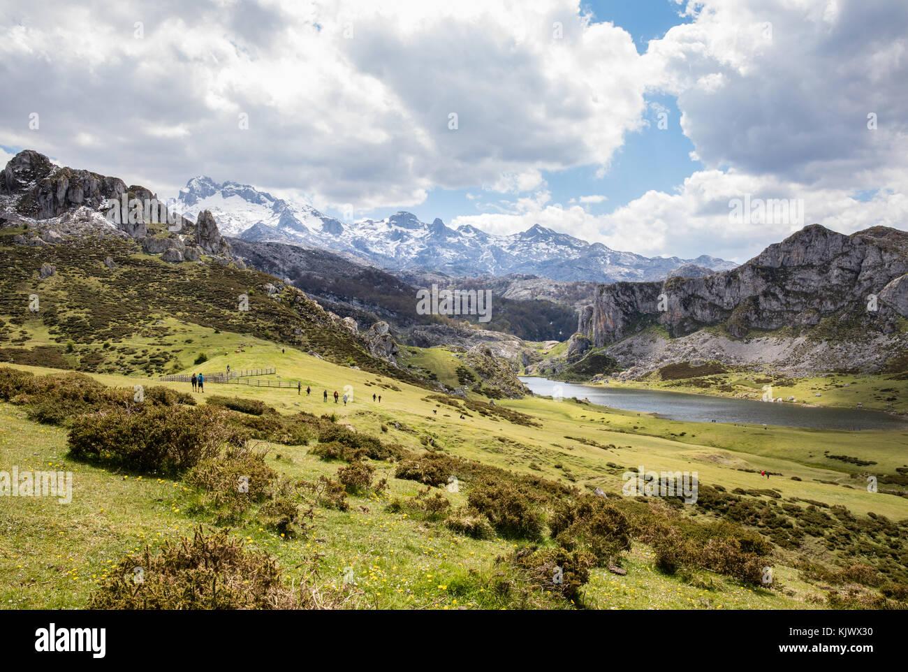 Lake Ercina near Covadonga in the Picos de Europa northern Spain - Stock Image