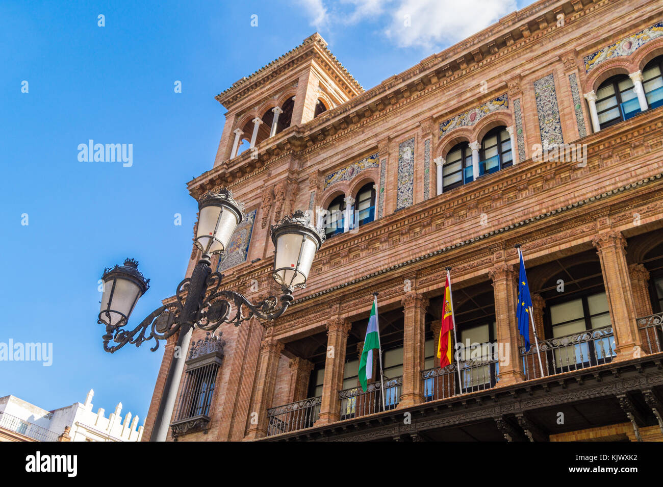 Government building in Spanish Renaissance revival architectural style, Seville, Andalucia, Spain - Stock Image