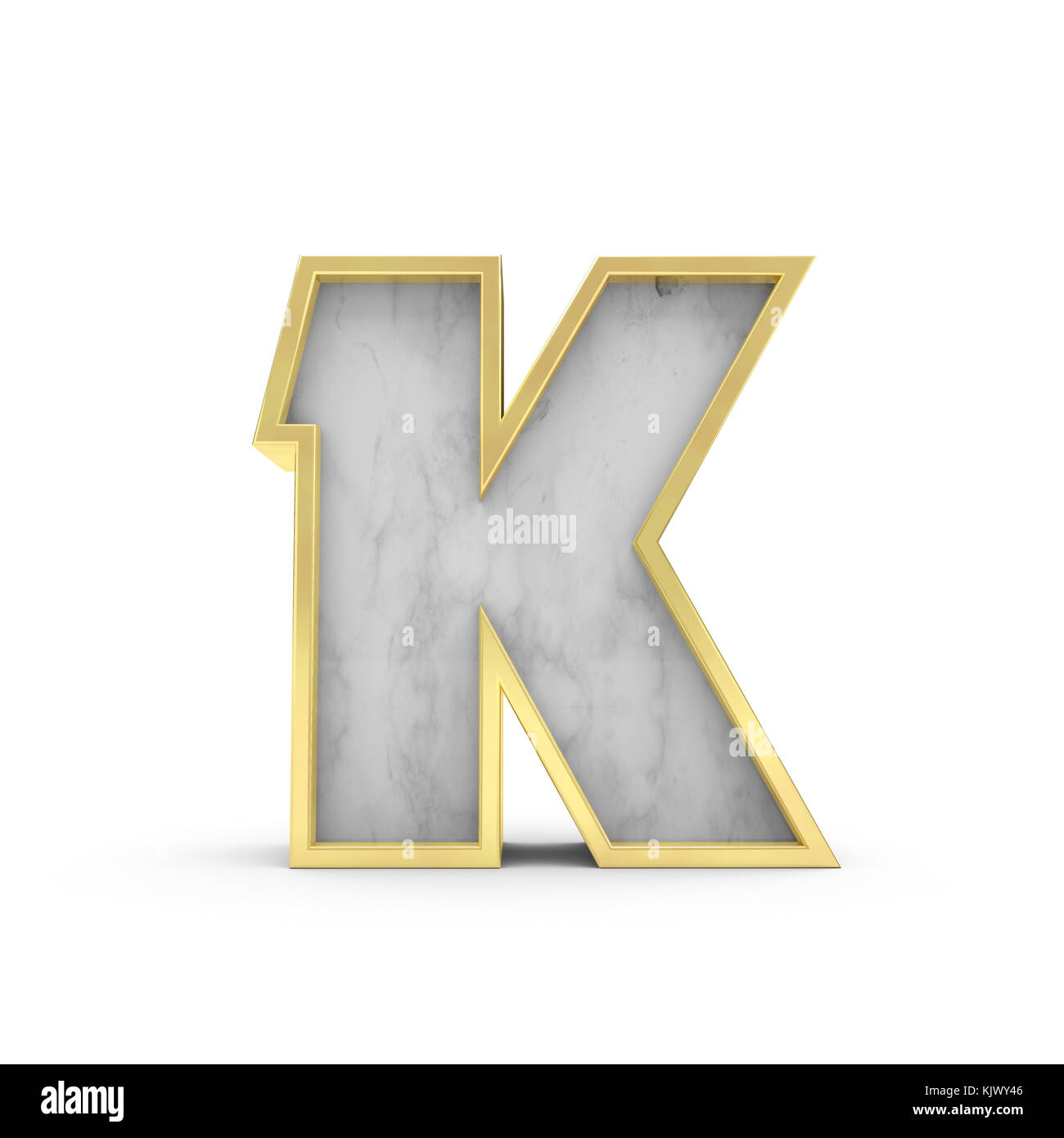 Letter K Marble and gold lettering font 3D Rendering Stock