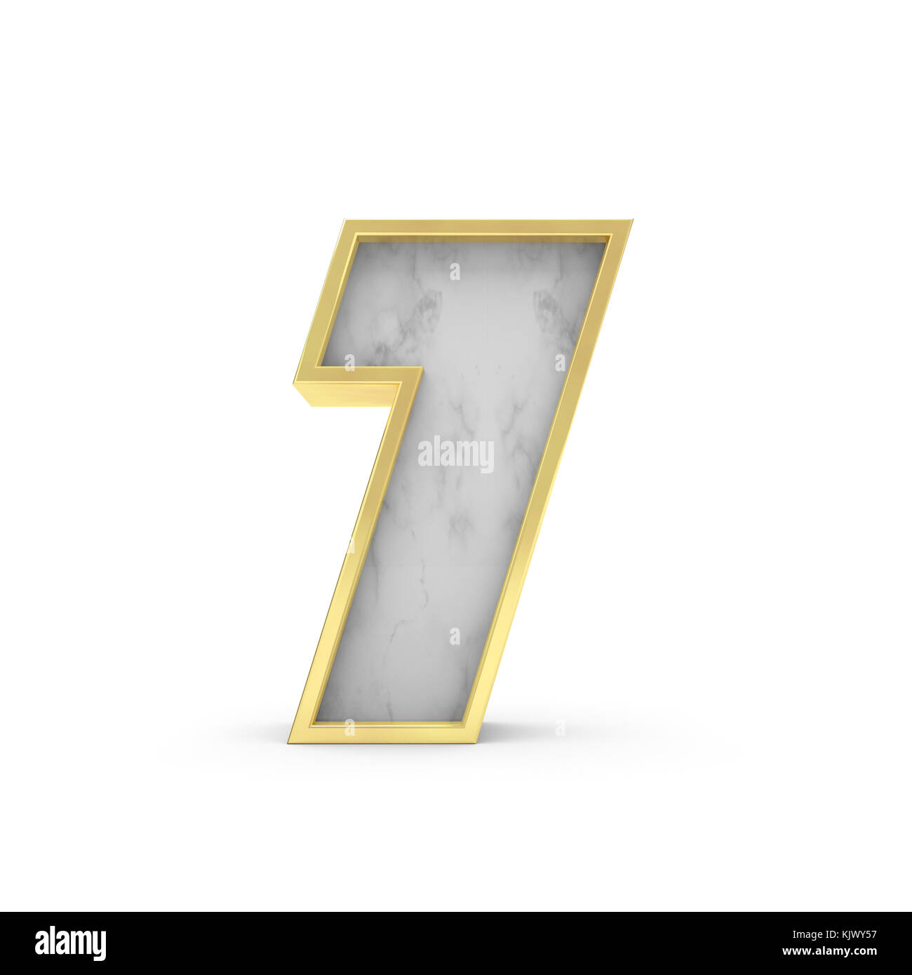 Number 7 Marble and gold lettering font 3D Rendering Stock