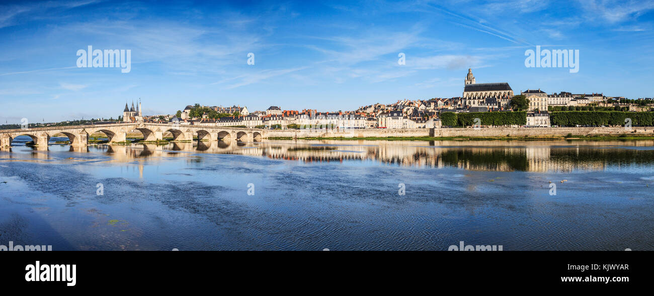 Panorama of the old town of Blois, Loire Valley, France - Stock Image