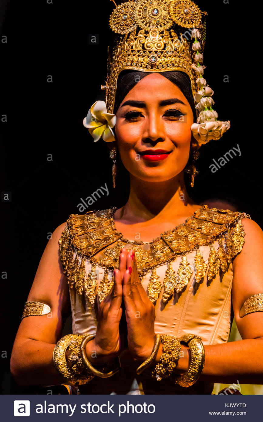 Traditional dance show presented by Cambodian Living Arts, National Museum of Cambodia, Phnom Penh, Cambodia. - Stock Image