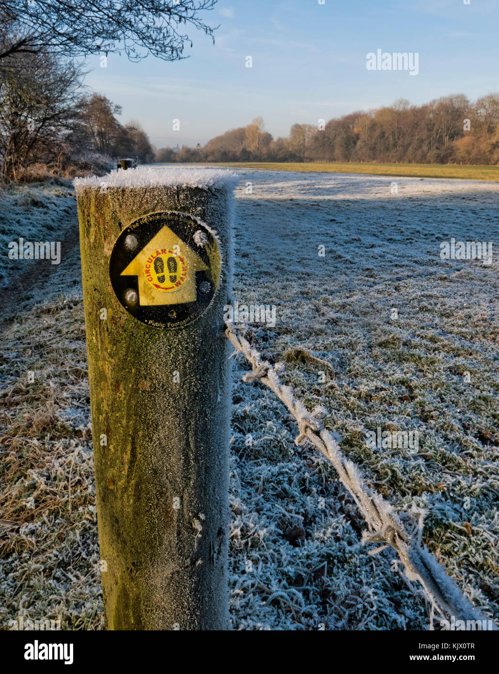 winter, frosty scene showing a fencepost with a footpath marker - Stock Image