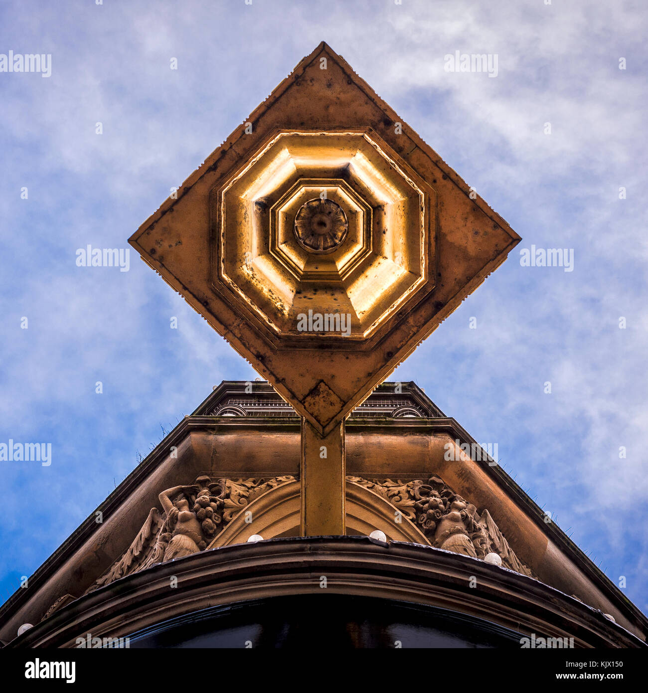 Unusual angle of view - looking up a building - Stock Image