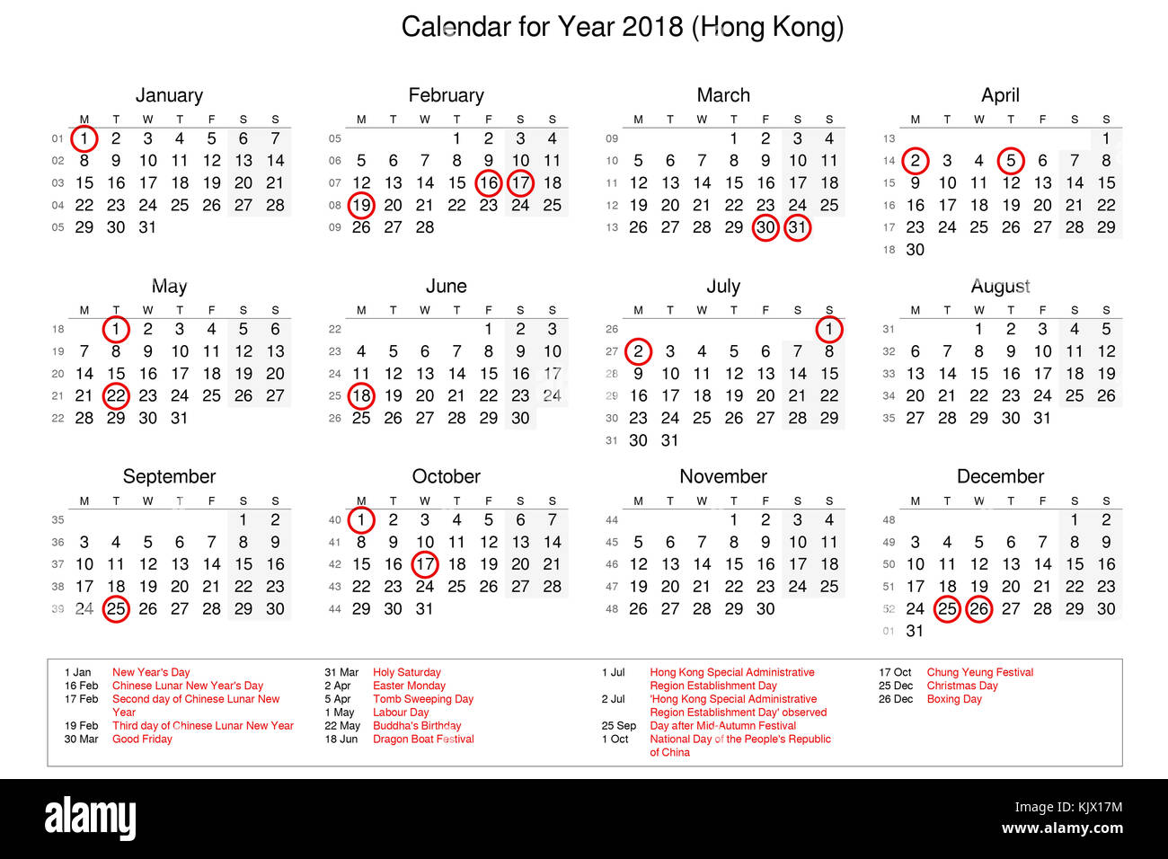 Calendar Of Year 2018 With Public Holidays And Bank Holidays For Hong Stock Photo Alamy