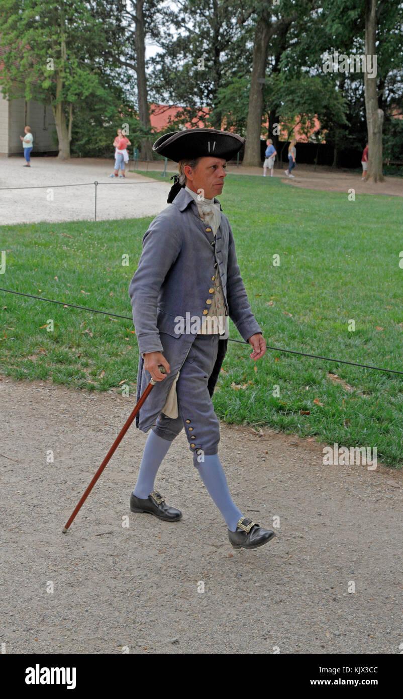 A character interpreter walking through the Mount Vernon estate, Alexandria, Virginia. - Stock Image