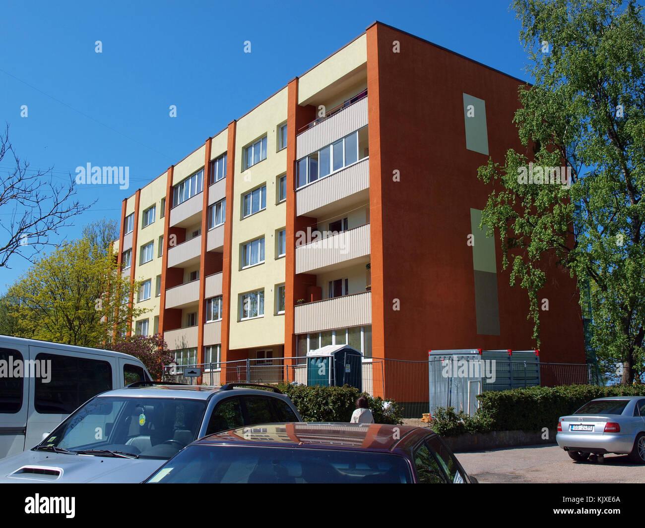 liepaja latvia may 21 2015 multi storey apartment house is renewed