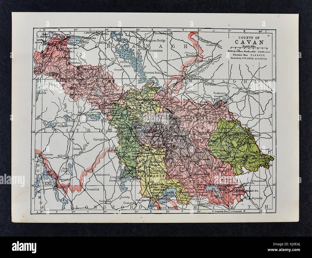 Antique Ireland Map - Cavan County - Ballyconnell Swanlinbar Black Lion Shercock - Stock Image