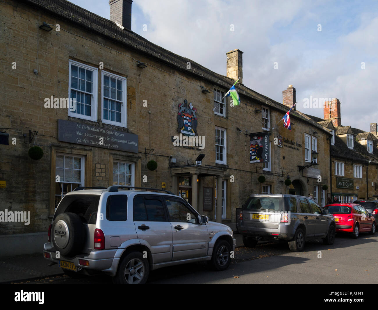 Award winning Redesdale Arms Hotel and Restaurant High Street Moreton-in-Marsh Glocestershire England UK built of - Stock Image
