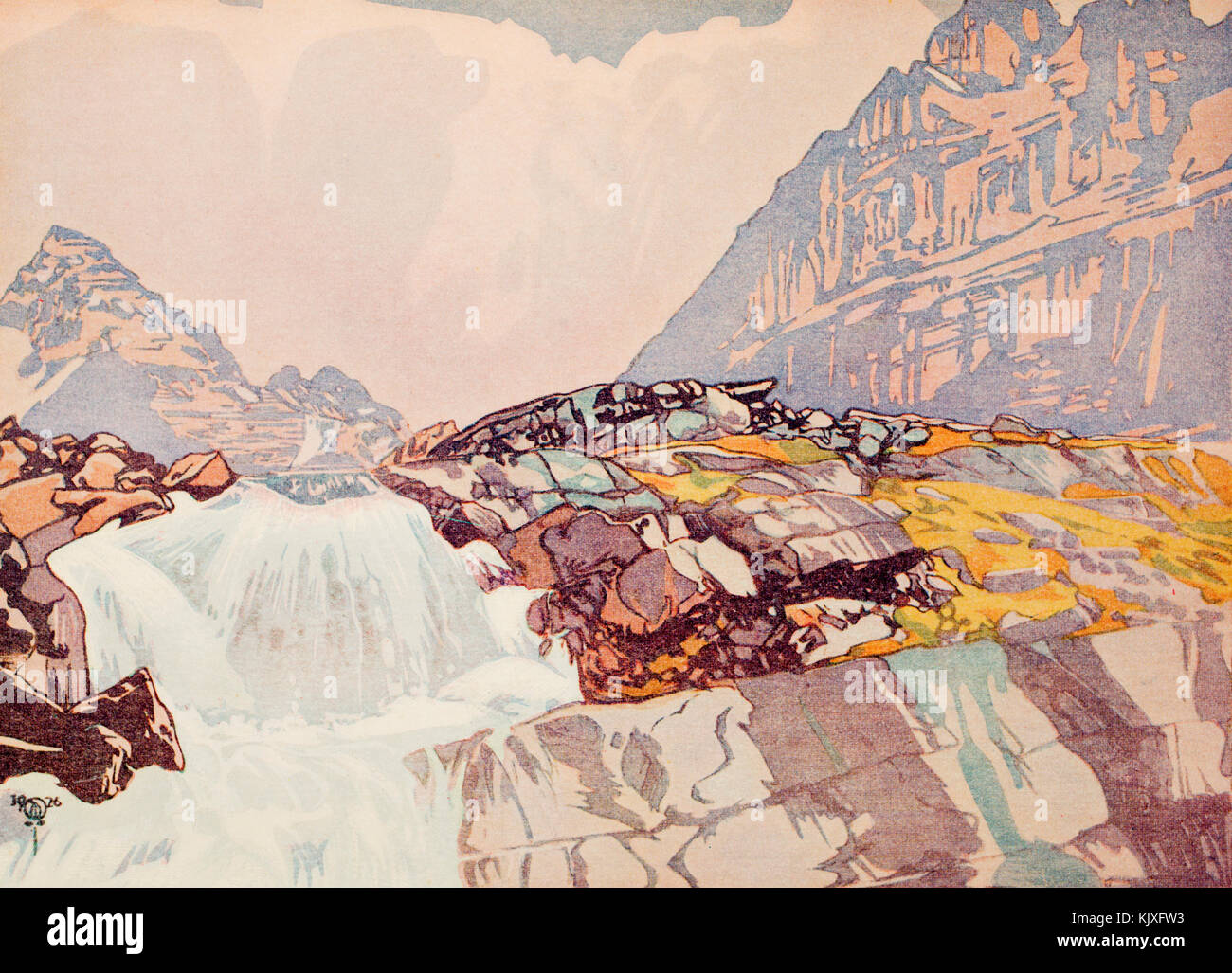 1926 halftone illustration of colour woodcut, fast flowing mountain stream - Stock Image