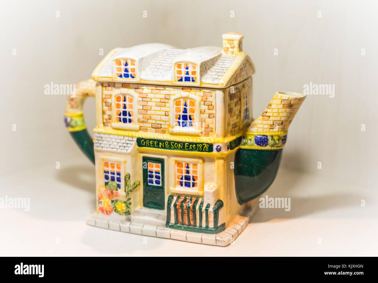 Decorative novelty teapot against white background, collectors item, England, UK, porcelain Stock Photo