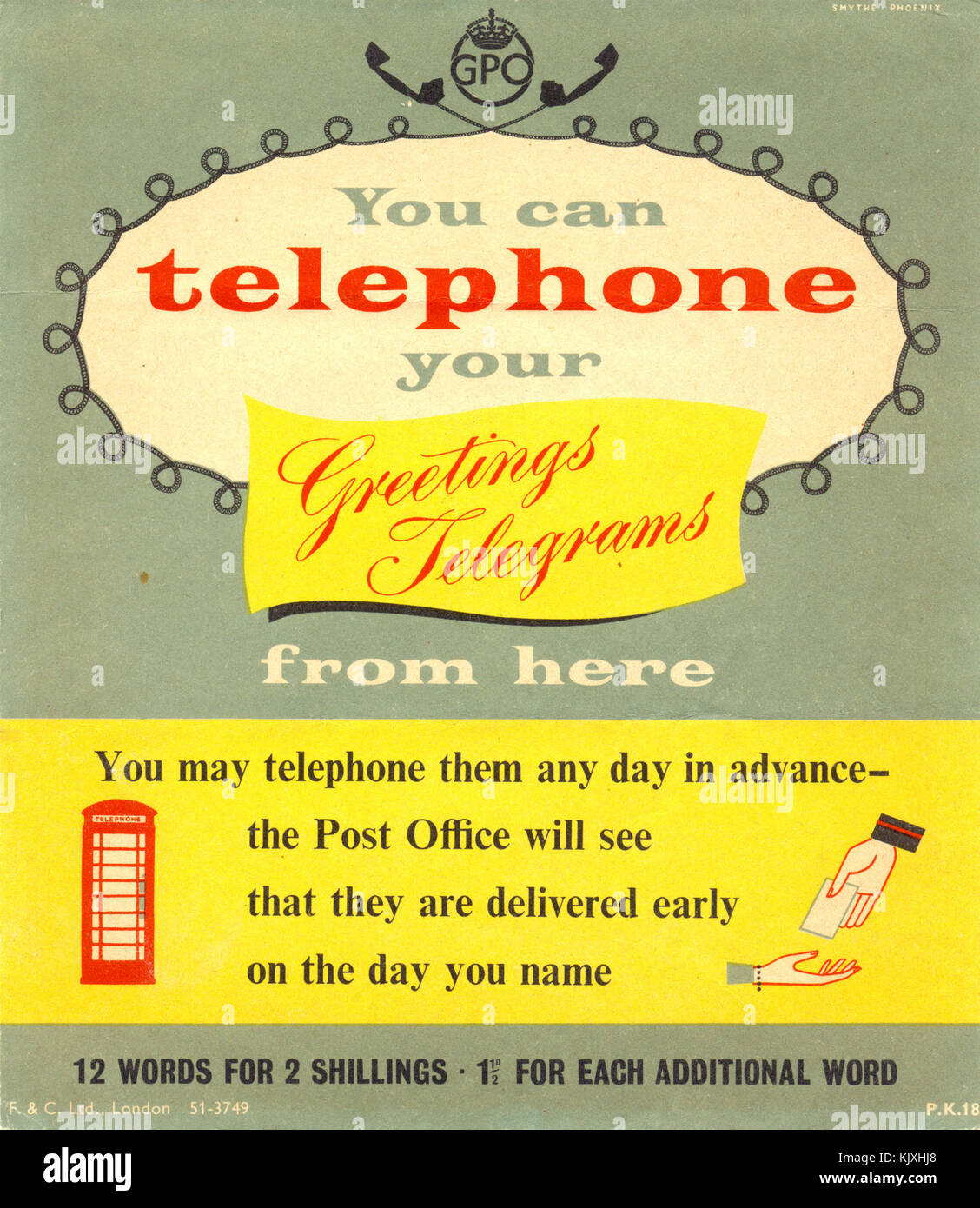 Post Office Telephone Box Advertising Poster -14 - Stock Image