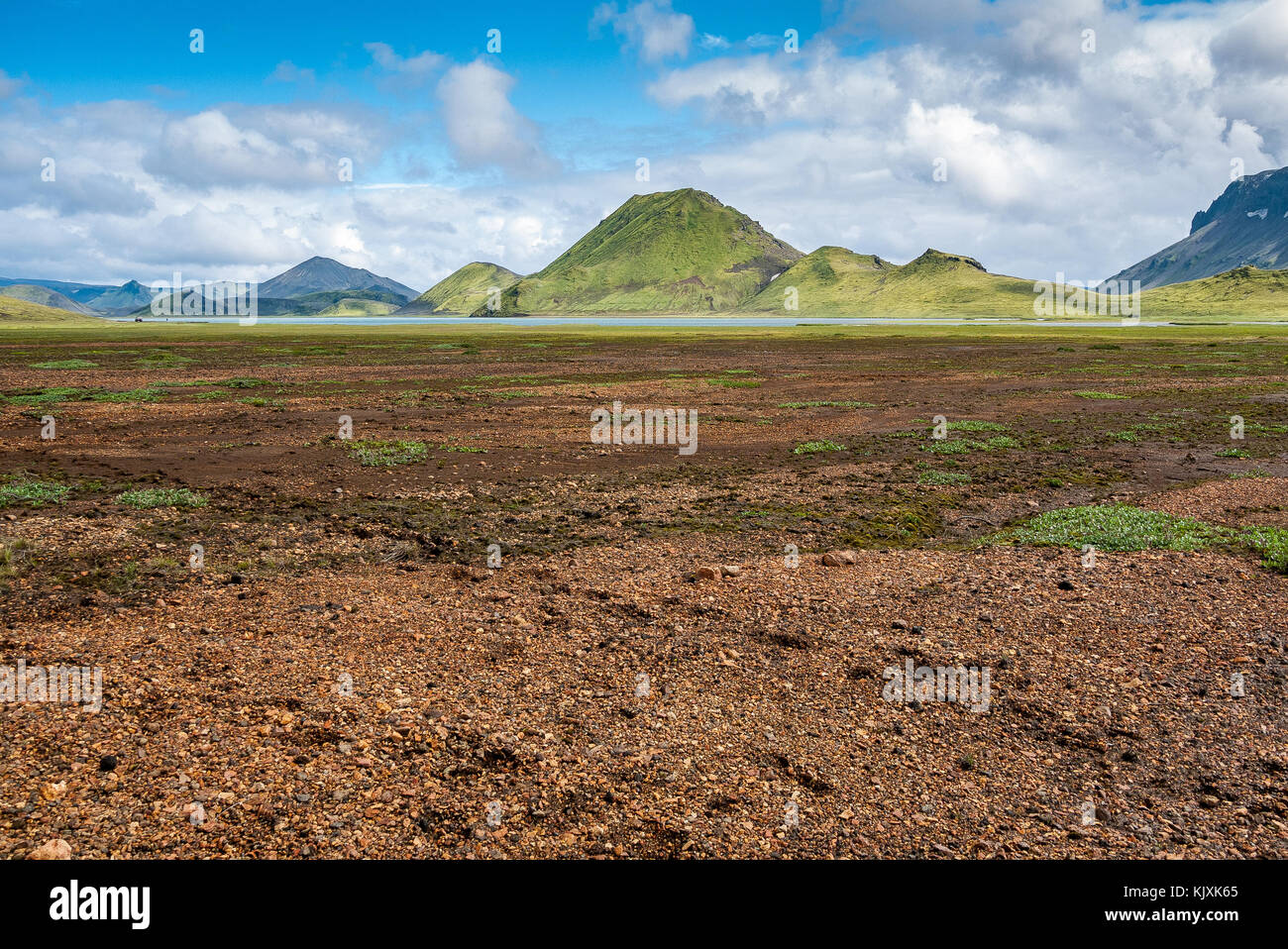 Red earth and red rock, green mountain covered with grass and lichen in the Landmannalaugar region, Iceland - Stock Image