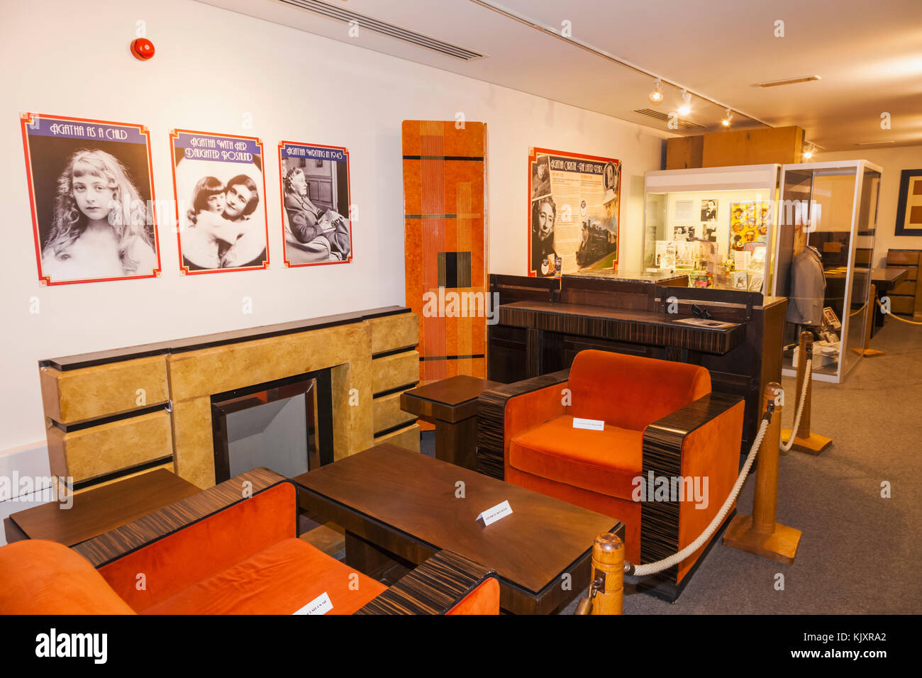 England, Devon, Torquay, Torquay Museum, Agatha Christie Gallery, Display of Furniture from The Poirot TV Series - Stock Image