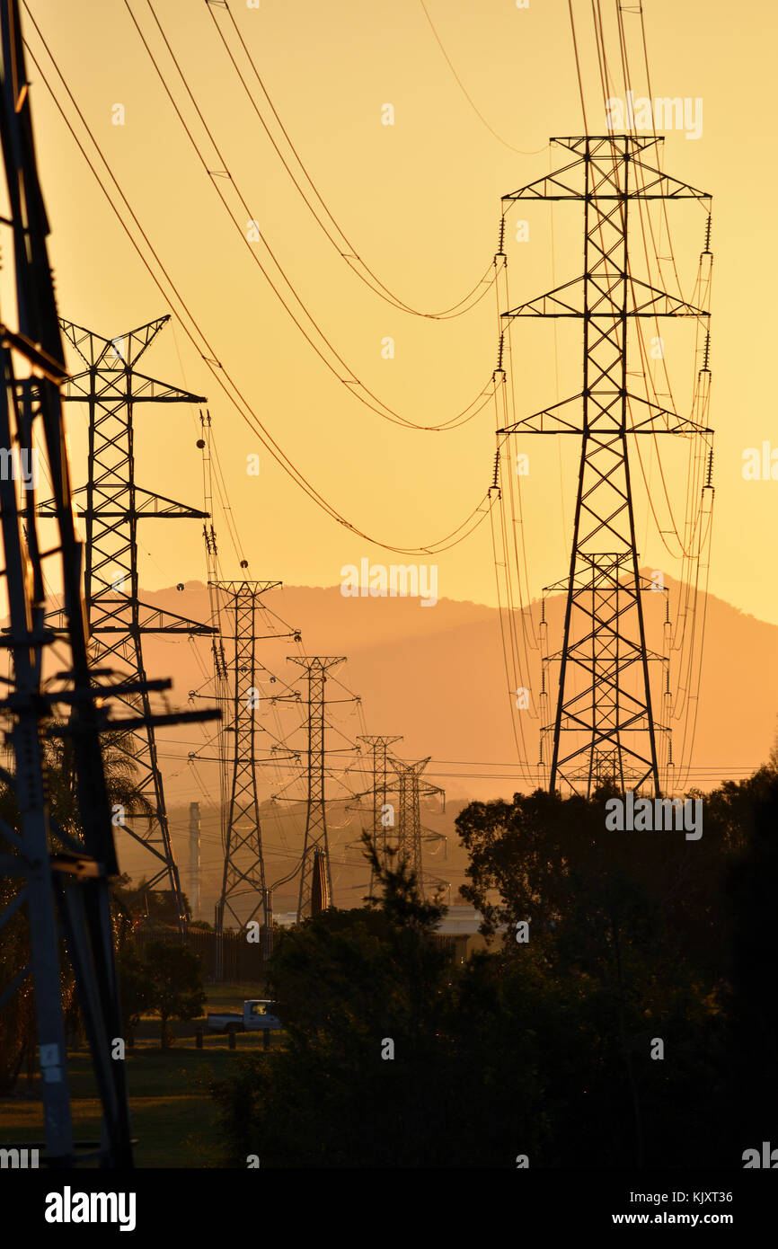 Australian Power Poles Stock Photos Electricity Lines At Sunset Image