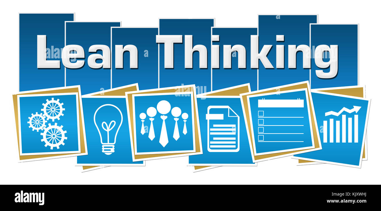 Lean Thinking Business Symbols Blue Squares Stripes Stock Photo ...