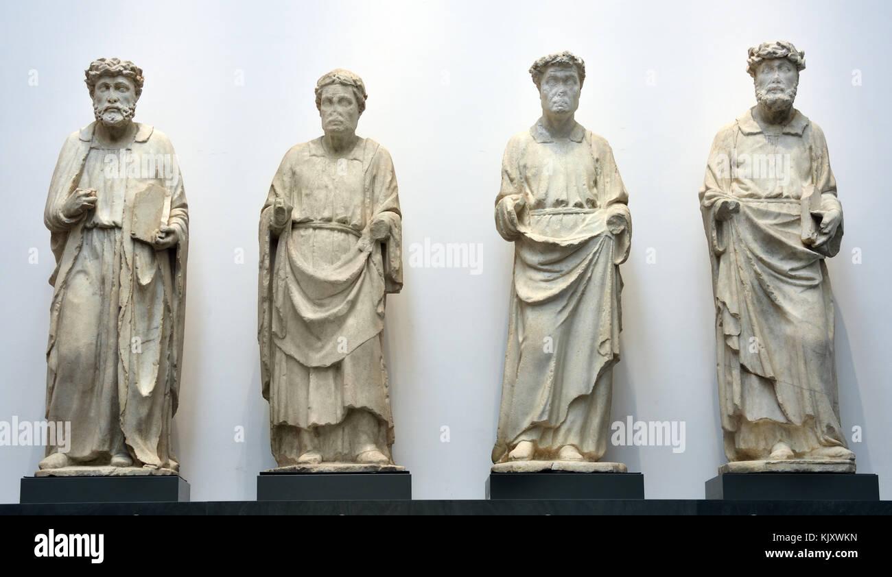Finestrone della bottega di f. talenti (1350-75 ca.), quattro dottori della chiesa (1395-1401)  F. talents (1350 - Stock Image
