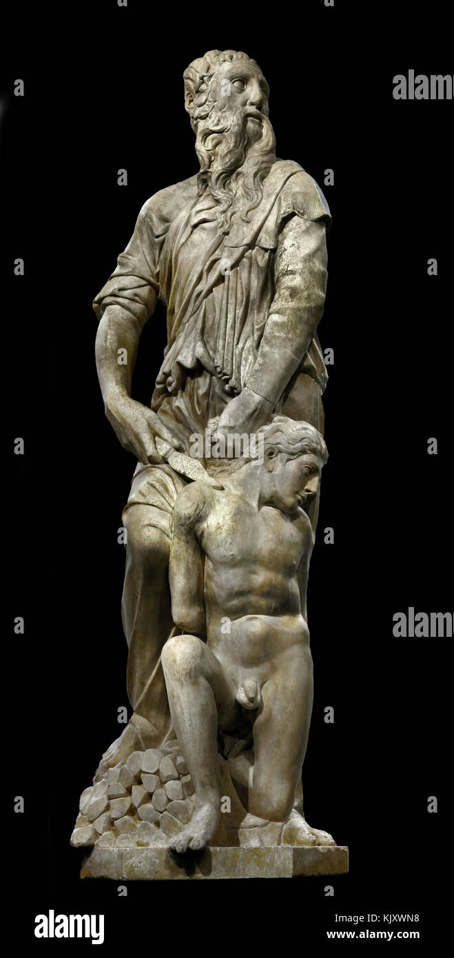 Sacrifice of Isaac 1421 by Donatello, ( Donato di Niccolò di Betto Bardi 1386 –1466) and Nanni di Bartolo sculptor - Stock Image