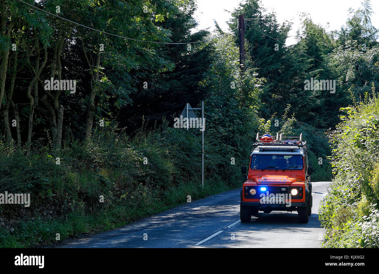 Upper Wharfedale Fell Rescue Vehicle on an Emergency call-out in the Pateley Bridge area during their very busy - Stock Image