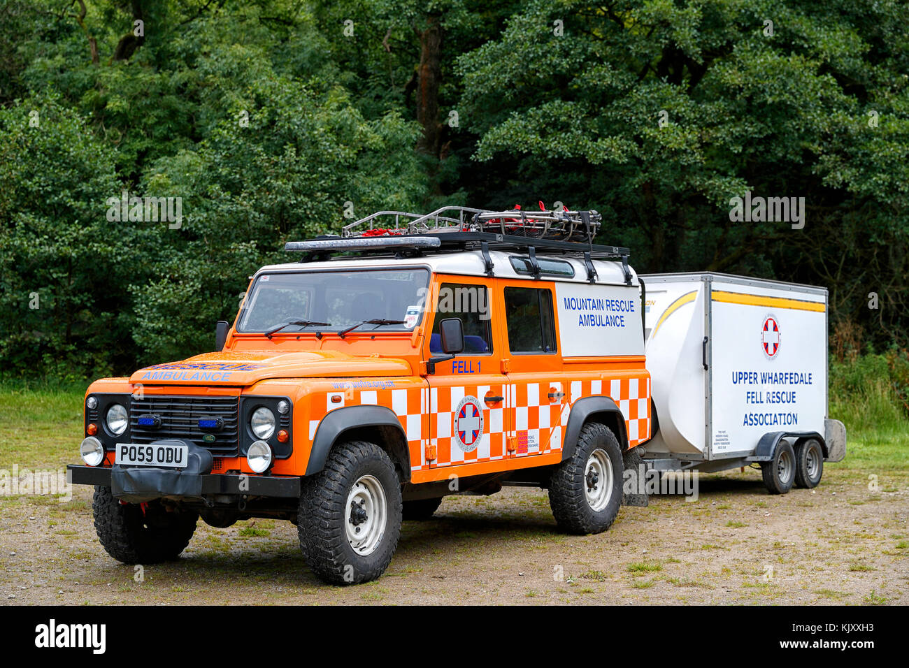 Upper Wharfedale Fell Rescue Vehicle on an Emergency call-out in the Washburn Valley area of Nidderdale during their - Stock Image