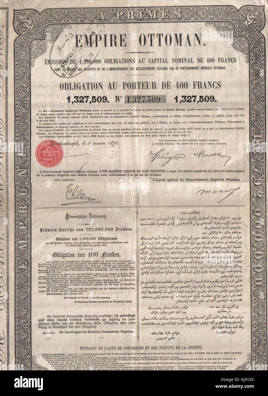 Empire Ottoman, Emission de 1980000 Obligations au capital nominal de 400 Francs - Stock Image