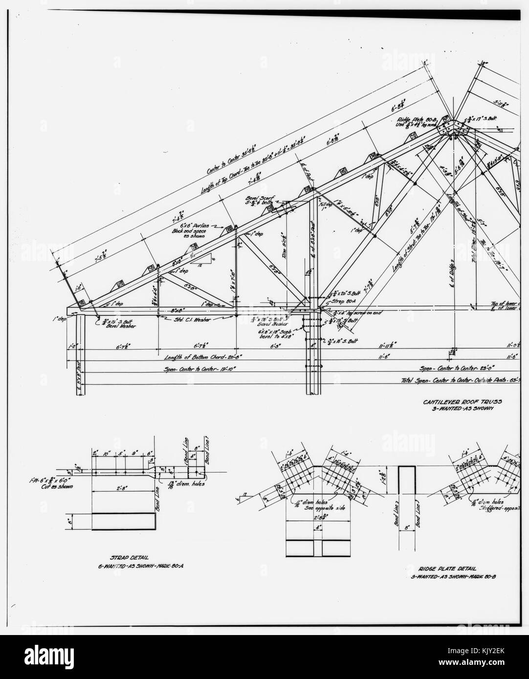 52  PHOTOCOPY OF DRAWING AMMONIA LEACHING PLANT ROOF TRUSS