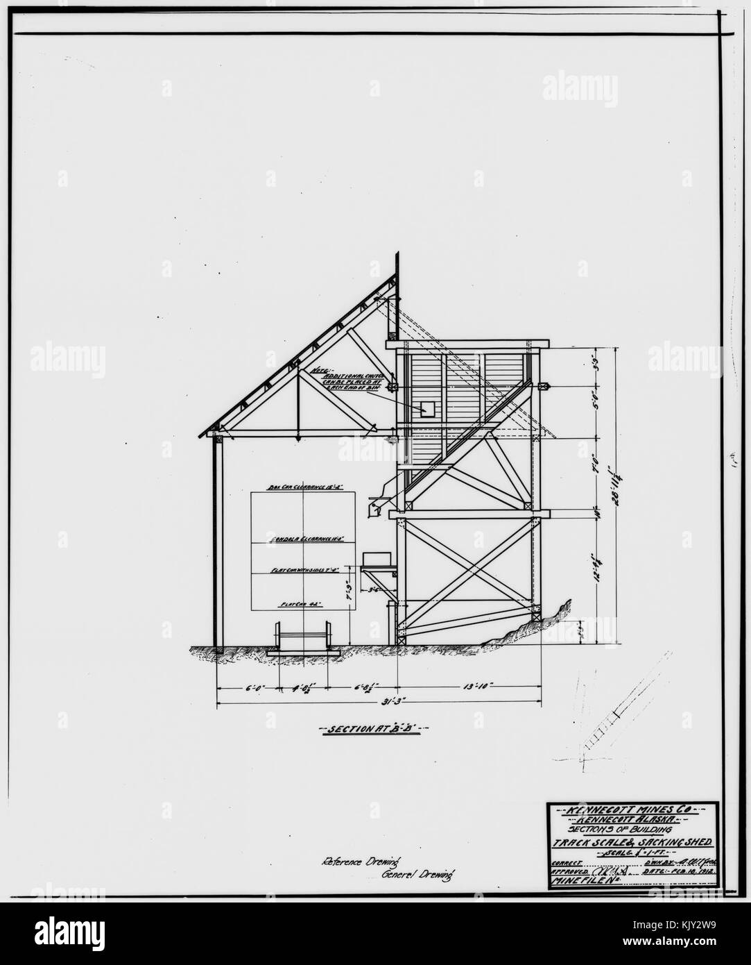 41. PHOTOCOPY OF DRAWING OF TRACK SCALE AND SACKING SHED, SECTIONS OF BUILDINGS   Kennecott Copper Corporation, - Stock Image
