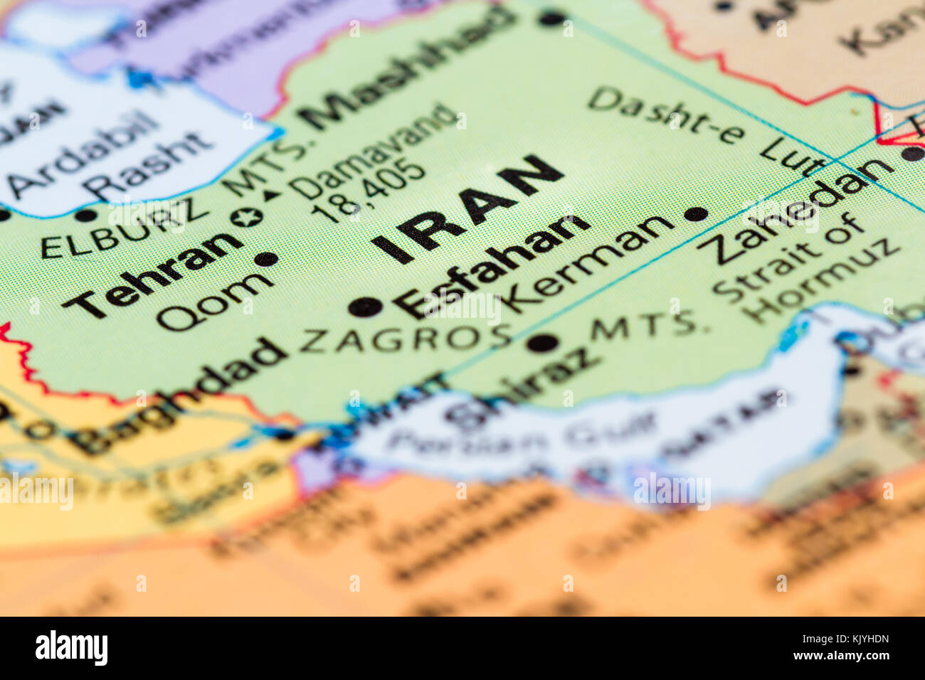 Close up of a world map with Iran in focus Stock Photo
