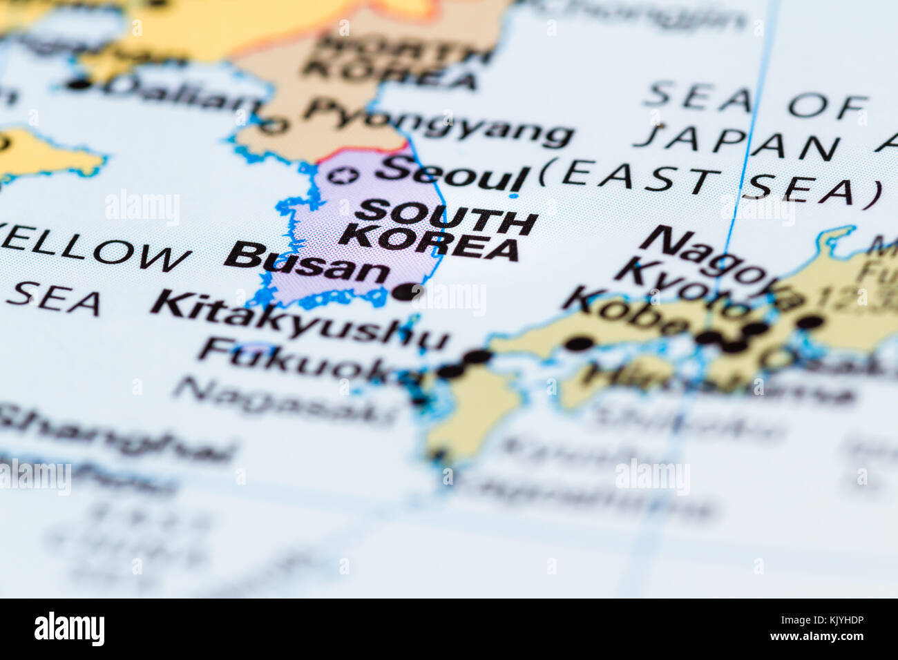 Close up of a world map with south korea in focus stock photo close up of a world map with south korea in focus gumiabroncs Gallery