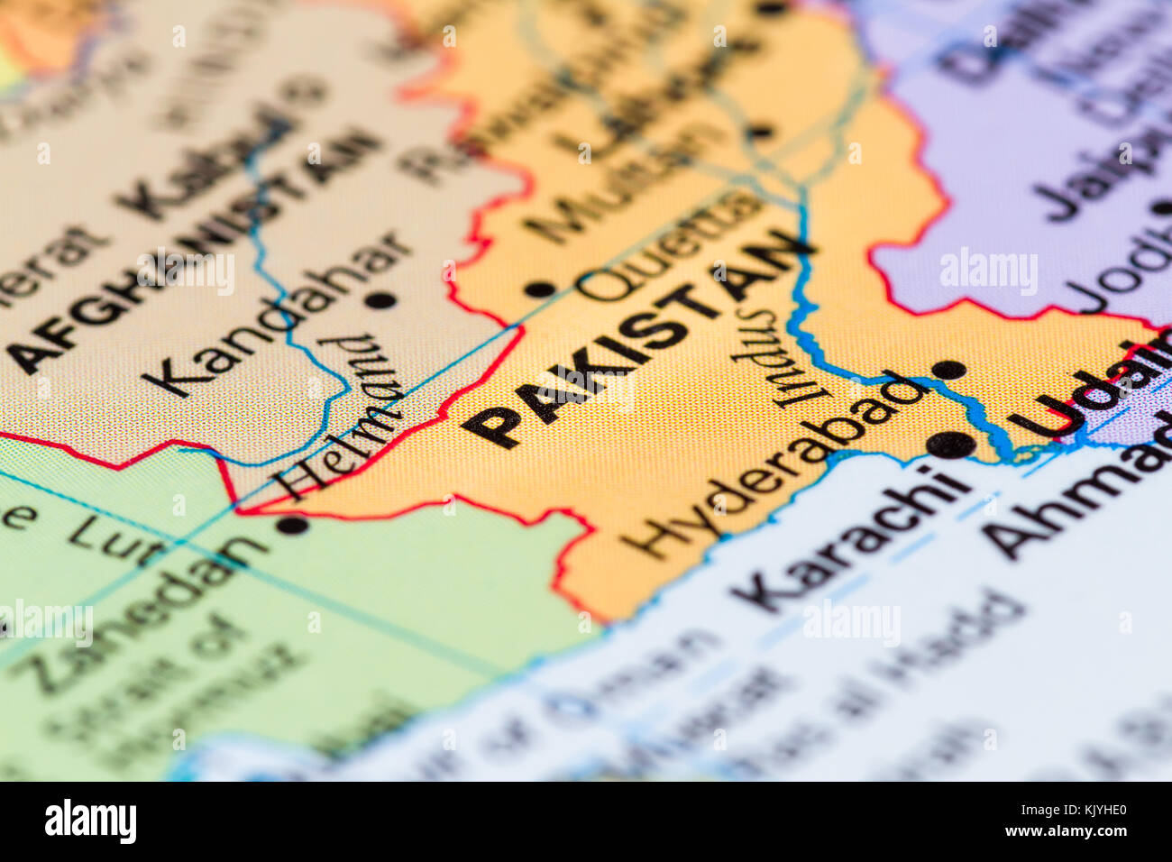 close up of a world map with the word Pakistan  in focus Stock Photo