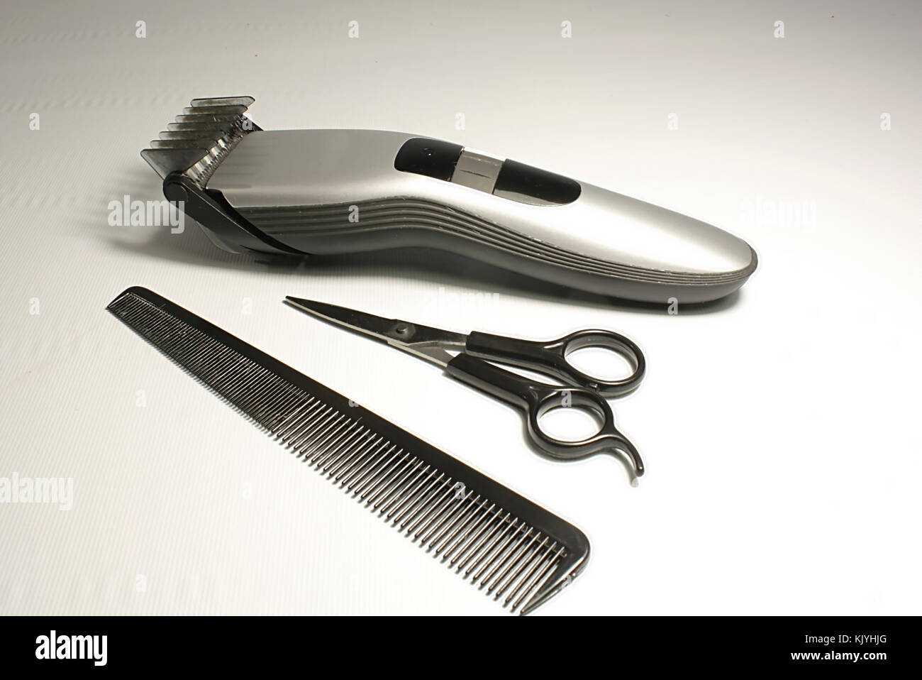 hair trimmer, scissors and combs - Stock Image