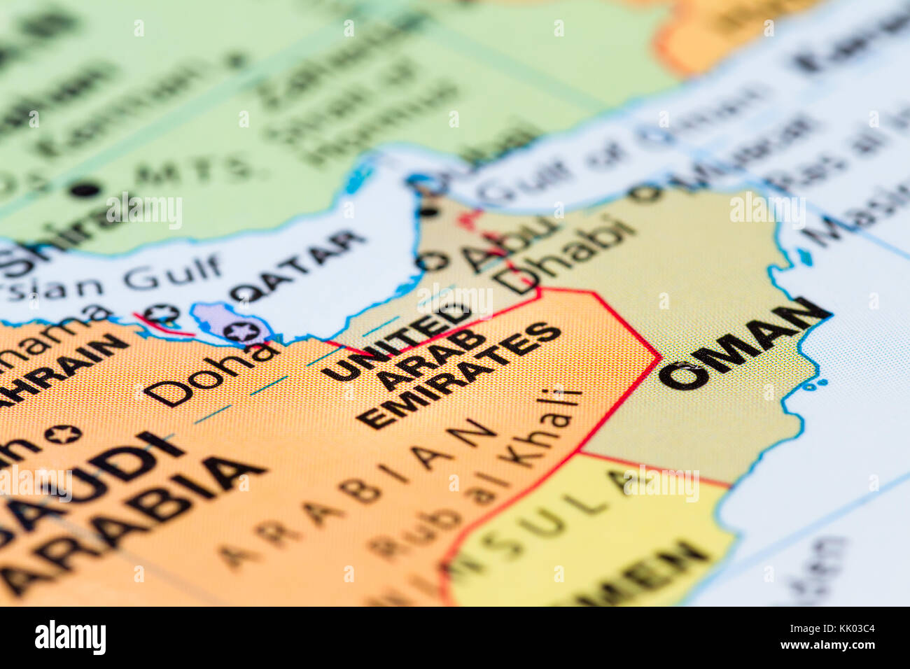 close up of a world map with the United Arab Emirates in focus - Stock Image