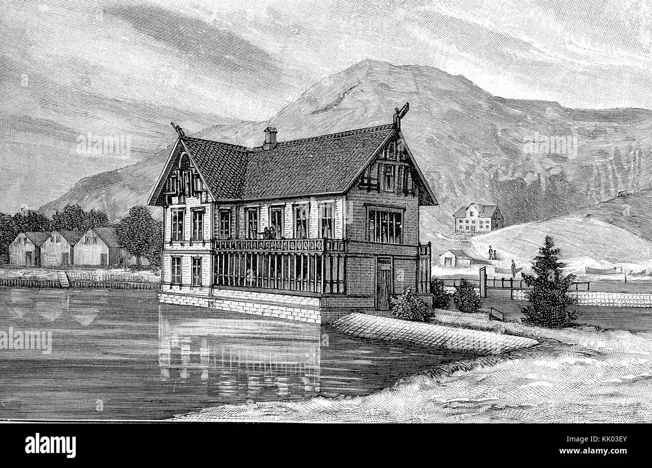 Laboratory and biological sea station of Bergen, in Norway  established in 1892. Marine zoological and biological - Stock Image