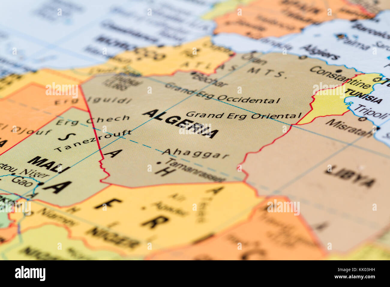 close up of a world map with the word Algeria in focus Stock ...