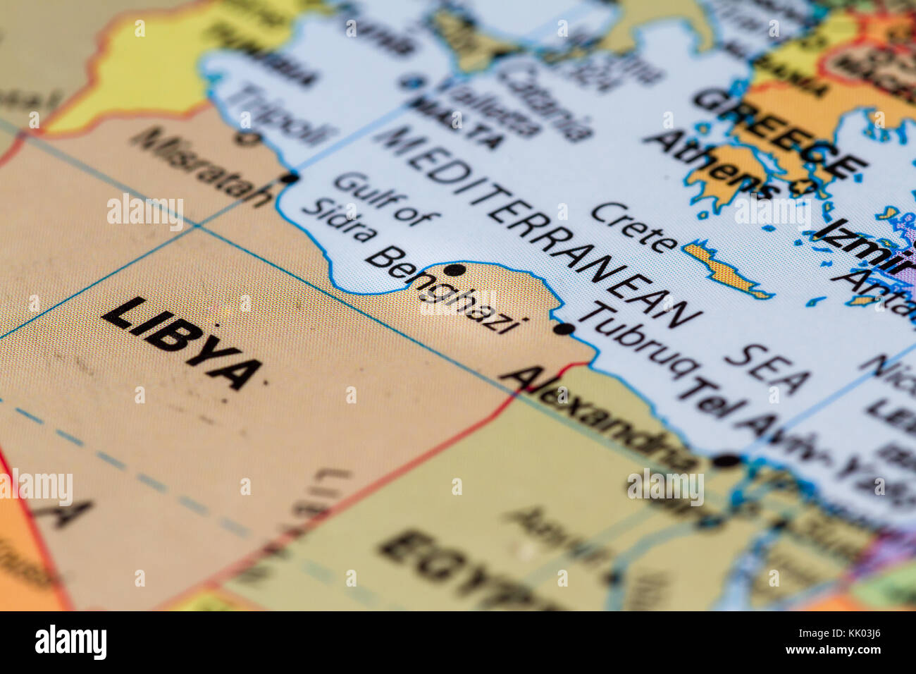 Close up on the country of Libya on a world map - Stock Image