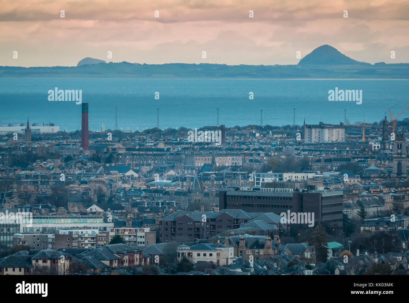 Edinburgh skyline, Firth of Forth, volcanic plugs of Berwick law and Bass Rock, seen from rest and be Thankful, Stock Photo