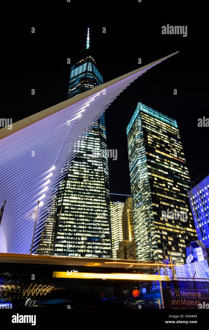 World Trade Center Transportation Hub by Santiago Calatrava and building of One World Trade Center on the back, - Stock Image
