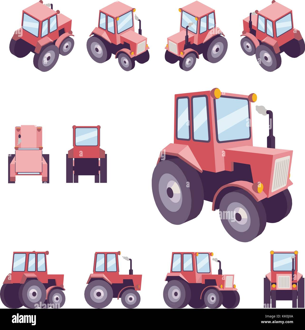 Red farm tractor, from different angles. Vehicle template vector isolated on white. View front, rear, side, top, - Stock Vector