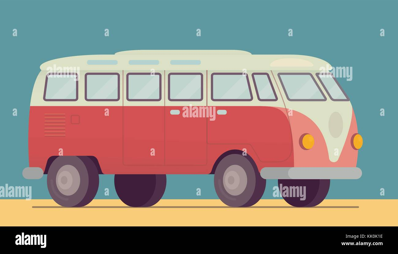 Red retro van car - 1950-1970, seventies, sixties. On the beach sand, summer, hippie lifestyle car. Vector illustration - Stock Vector