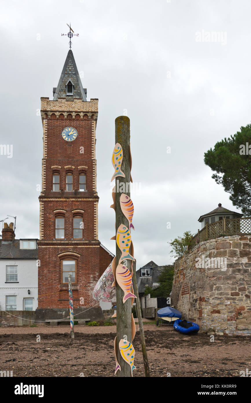 The National trusts Peters Tower, an Italianate riverfront brick clock tower at Lympstone on the River Exe in Devon. - Stock Image