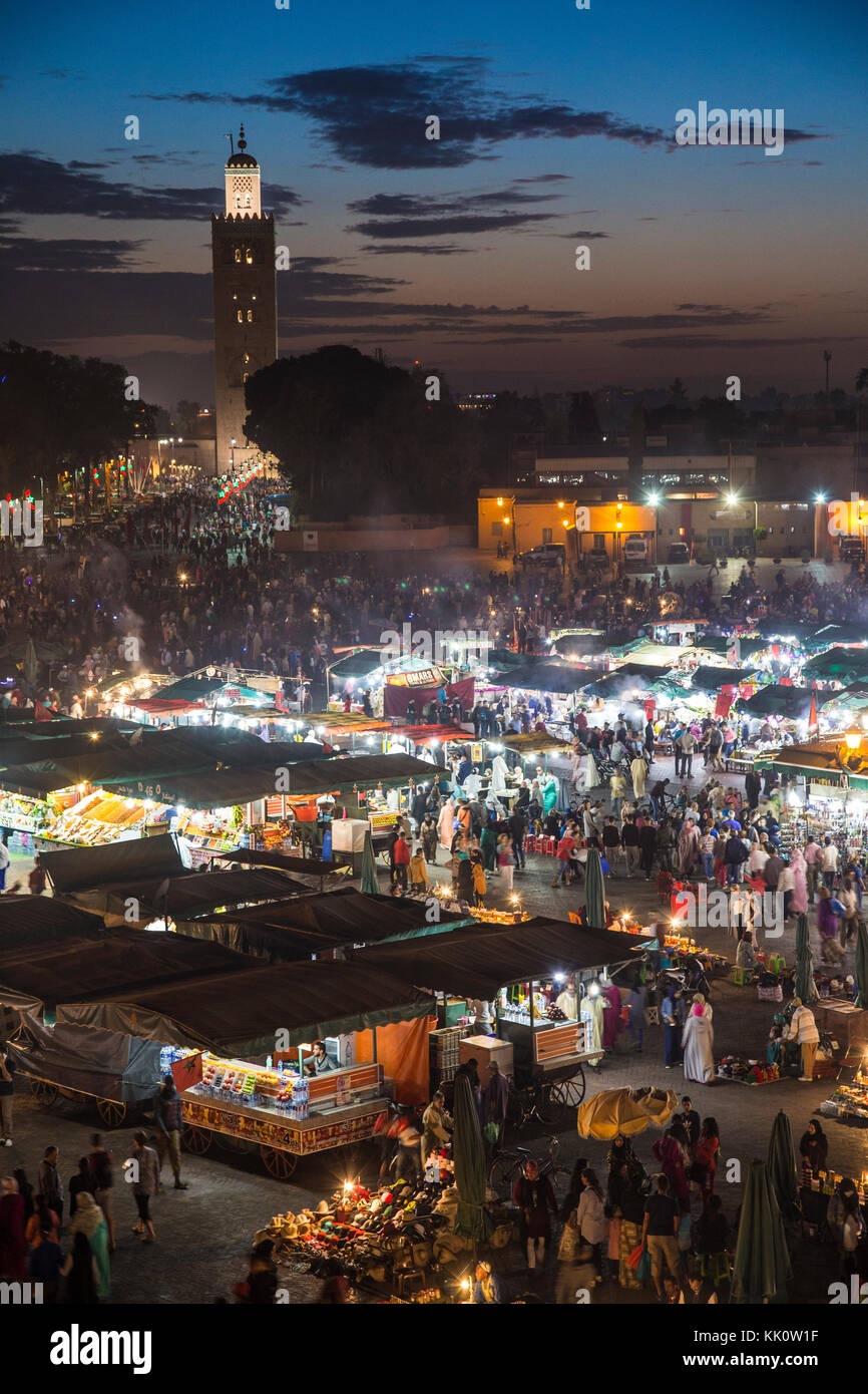 Jamaa el-Fnaa is a famous square and market place in medina quarter (old city) in Marrakech, Morocco. Stock Photo