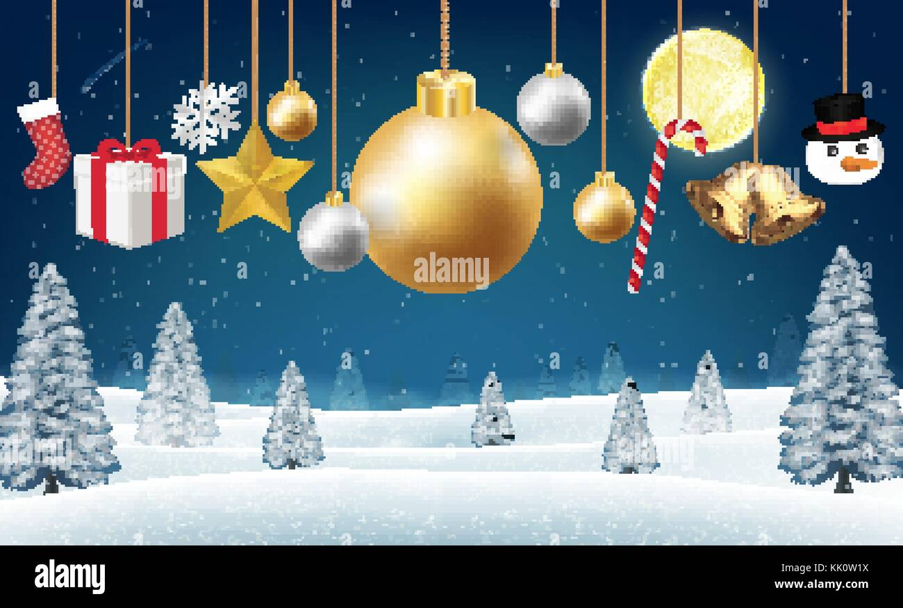 Christmas Hanging Decorative On A Winter Hill Stock Vector