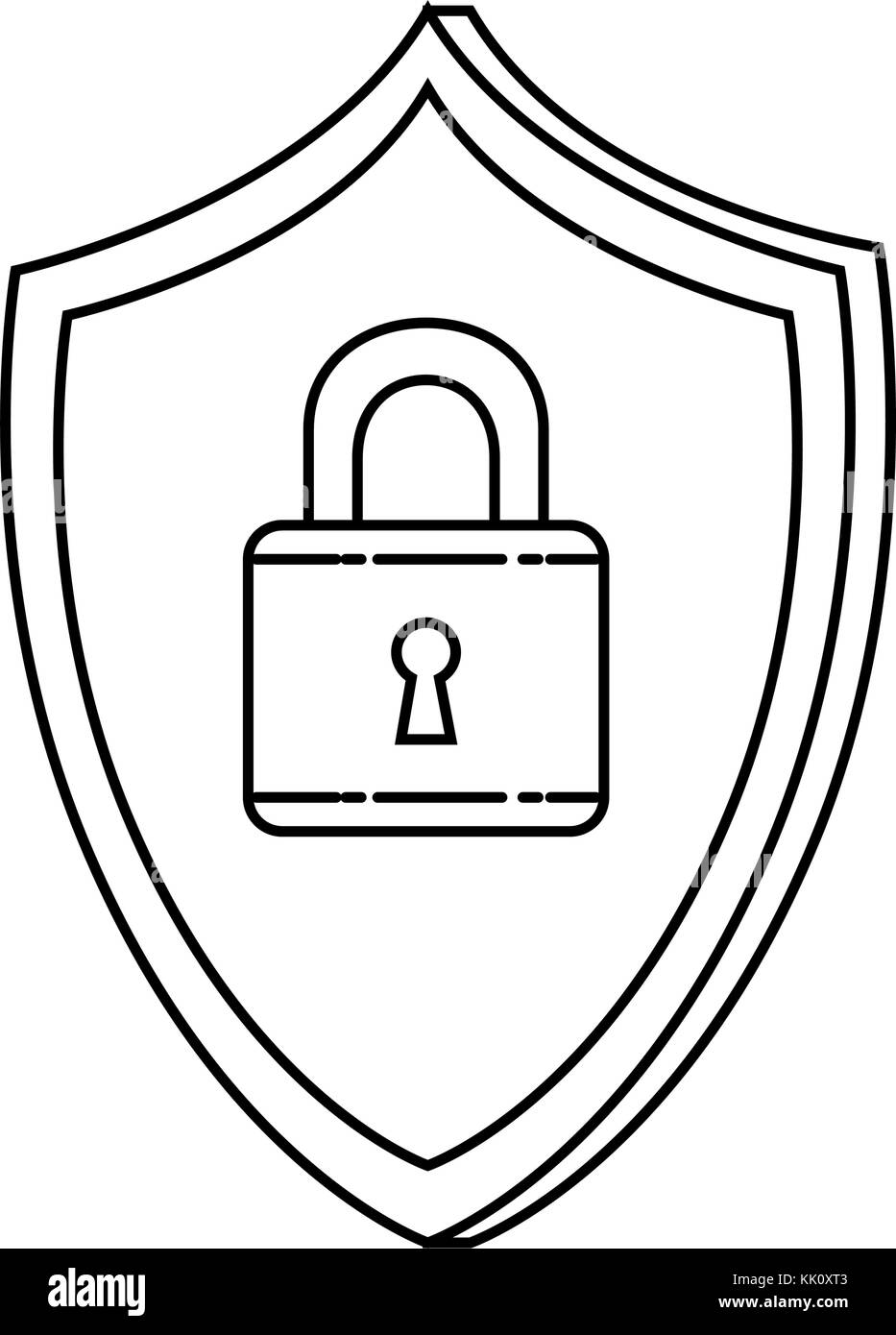 shield with padlock security - Stock Image